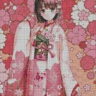 Girl with pink flowers cross stitch pattern in pdf DMC
