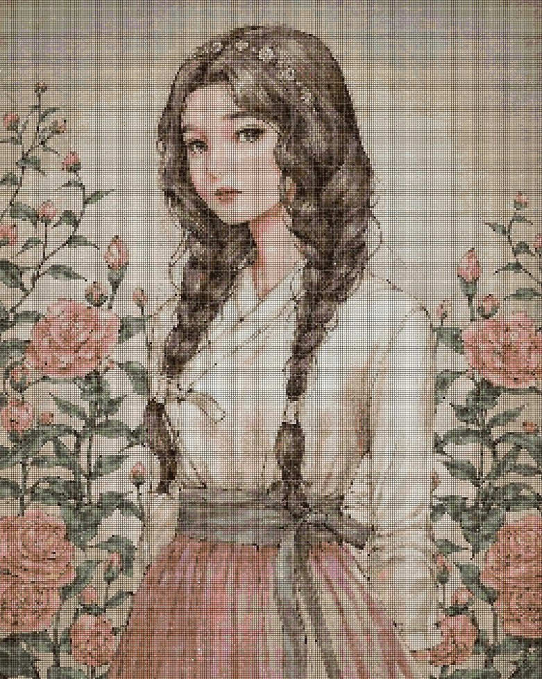Girl with roses cross stitch pattern in pdf DMC