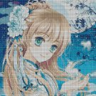 Girl with the moon cross stitch pattern in pdf DMC