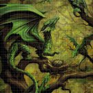 Green dragons cross stitch pattern in pdf DMC
