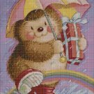 Hedgehog with umbrella cross stitch pattern in pdf DMC