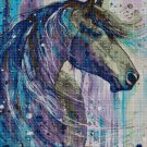 Horse head pain art cross stitch pattern in pdf DMC