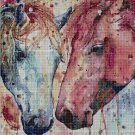 Horses-paint cross stitch pattern in pdf DMC