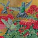Hummingbirds and red flowers cross stitch pattern in pdf DMC