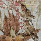Hummingbirds with flowers cross stitch pattern in pdf DMC
