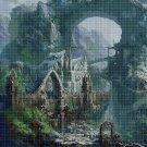 Castle on the rock cross stitch pattern in pdf DMC