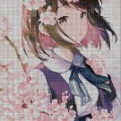 Anime girl in blossom 6 cross stitch pattern in pdf DMC