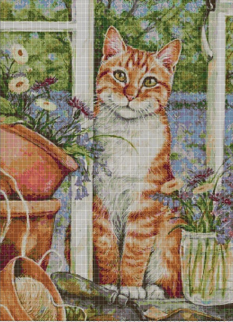 Kitten in the window cross stitch pattern in pdf DMC