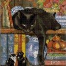 Kitten on the shelf cross stitch pattern in pdf DMC