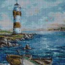 Lighthouse with boats cross stitch pattern in pdf DMC