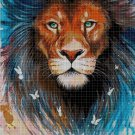 Lion head art 5 cross stitch pattern in pdf DMC
