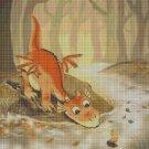 Little dragon in forest cross stitch pattern in pdf DMC