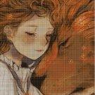 Little girl and lion cross stitch pattern in pdf DMC