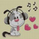 Music dog cross stitch pattern in pdf DMC