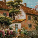 Old house with boat cross stitch pattern in pdf DMC