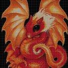 Orange dragon cross stitch pattern in pdf DMC