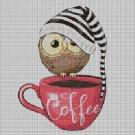 Owl coffee cross stitch pattern in pdf DMC