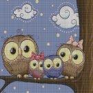 Owl family on the branch cross stitch pattern in pdf DMC