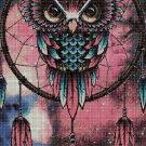 Owl in dream catcher cross stitch pattern in pdf DMC