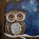 Owl in winter cross stitch pattern in pdf DMC