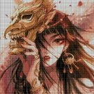 Anime girl in mask cross stitch pattern in pdf DMC