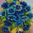 Blue flowers cross stitch pattern in pdf DMC