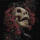 Skull with roses cross stitch pattern in pdf DMC