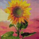 Sunflower in twilight cross stitch pattern in pdf DMC