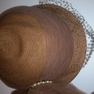 Vintage Straw Hat with Netted Veil Tule Band/Bow and Jeweled Accent circa 1940s