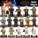 16pcs 7 The First Order Finn Rey Chewbacca Rebel Stormtrooper/Shadow Storm Trooper