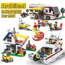 Vacation Getaways Camper Summer home Architect 3 in 1 Building Block