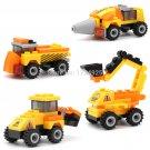 4 pcs City Construction Team Mixer Bulldozer Truck Excavator