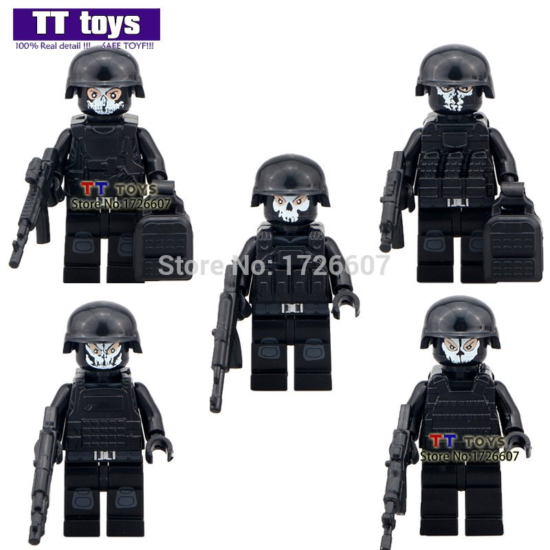 Duty Call 5pcs/lot Military Series Swat Gun Army Brick Arms For City Police