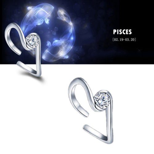 Zodiac Pisces Constellations Shaped Adjustable Opening Silver Plated