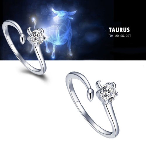 Zodiac Taurus Constellations Shaped Adjustable Opening Silver Plated