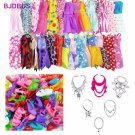 30 PCS / Lot = 12x Mixed Style Mini Dresses + 12x Shoes + 6x Necklaces Clothes For Barbie Doll