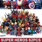 62pc/lot Hulk Flash Deadpool Loki Harly Quinn Super Heroes Fit Lego Minifigures