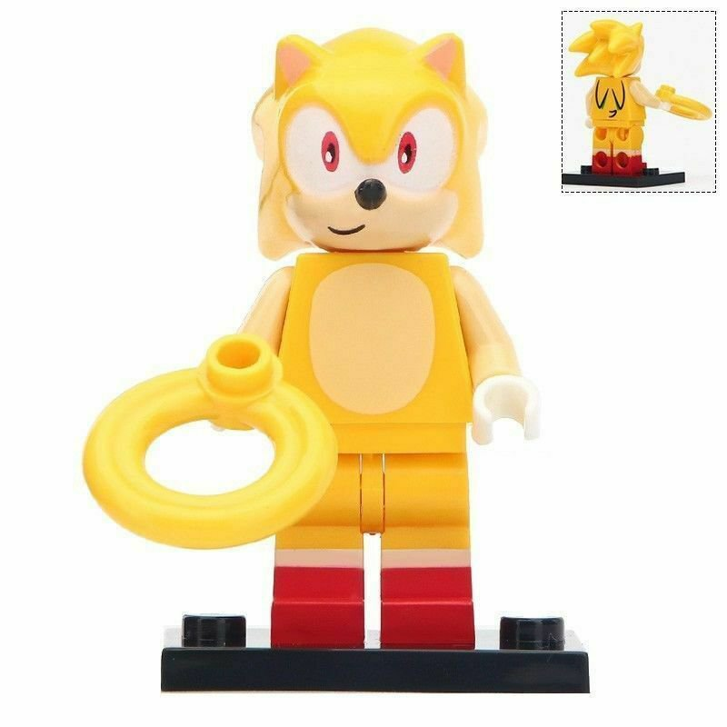 Yellow Sonic Fit Lego Minifigure Toys