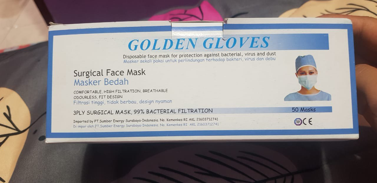 50 Disposable Face Masks Surgical Medical  Quality 3-Ply Purple( 1 Box = 50pcs)   (Limited stock)