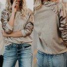 Women T-Shrts Sequine T Shirt Long Sleeve T-Shirt Casual LoosePatchwork O-Neck Tee Tops