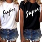 Loose T-shirt Women Letter Printed Girl Tops Short Sleeve White Women Shirts Big Size Women Clothes