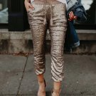 Mid waist sequined ankle-length pants Women drawstring elastic waist pants 2018 fashion spring