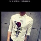 New Men Pattern White Slim Shirt Printing Fashion Casual  solid Color Designer Brand