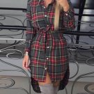 Fashion Women Blouses Long Sleeve Plaid Shirts Casual  Tops Tunic Feminine Irregular Blouses