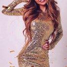 Dress Women  Party Dresses Long Sleeve Dress Fashion Sexy Gray  Gold Bodycon Dress Vestidos