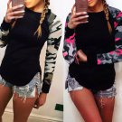 Women's Casual Loose Tops Long Sleeve Floral Print