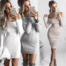 Womens Off Shoulder  Long Sleeve Autumn Casual Short Mini Dress