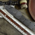 """10"""" long hand forged Damascus steel blank blade 4.5"""" cutting edge, 3 screw holes"""