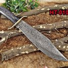 """15"""" long Damascus steel hunting Bowie Knife, 9.5"""" blade, wood scale, Cow sheath"""