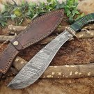 """15"""" Hunting Bowie knife, Hand forged Damascus steel, Green wood & engraved Brass"""